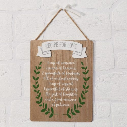 Recipe For Love Hanging Wall Plaque - Valentine, Wedding & Anniversary Gift